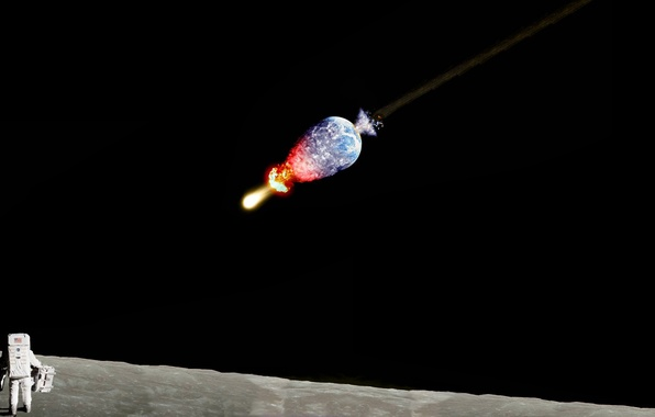 Picture earth, the moon, meteor, astronaut, kaput, kick