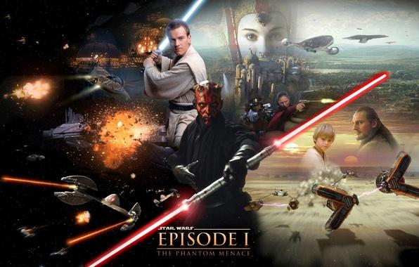 Picture Star Wars, Star wars, Darth Maul, lightsaber, lightsaber, Darth Maul, Obi-Wan Kenobi, Obi-WAN Kenobi, Qui-Gon …