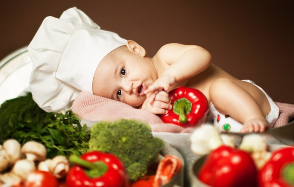 Picture greens, children, mushrooms, lies, pepper, vegetables, tomatoes, child, broccoli, Anna Levankova, scullion