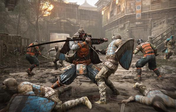 Picture wallpaper, battlefield, sword, rain, armor, war, wood, katana, dust, man, ken, death, samurai, asian, shield, …