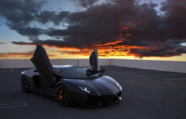 Picture clouds, Lamborghini, supercar, Aventador, on the roof, Lamborghini Aventador, sports car