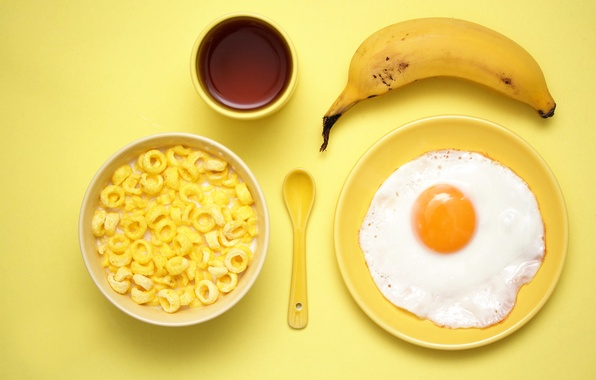 Photo wallpaper egg, Breakfast, banana, cereal, Yellow breakfast
