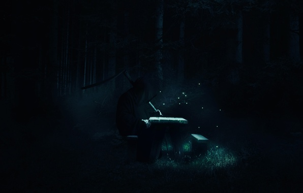 Picture forest, bench, night, death, fireflies, fiction, stay, braid, fantasy