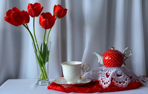 Picture flowers, table, bouquet, kettle, Cup, tulips, still life