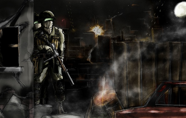 Picture the sky, night, weapons, the moon, figure, explosions, art, soldiers, post, tracers