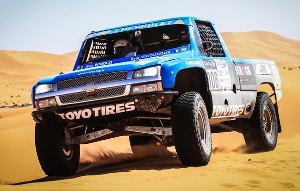 Picture sand, Chevrolet, Chevrolet, pickup, the front, racing car, Silverado, Silverado, Trophy Truck