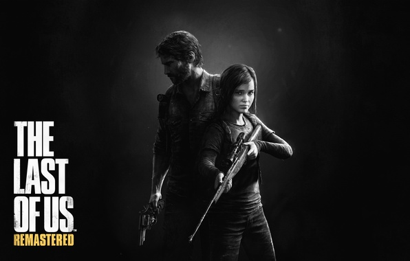 Picture look, weapons, darkness, logo, flashlight, girl, male, logo, beard, Ellie, revolver, backpack, sight, rifle, defender, …