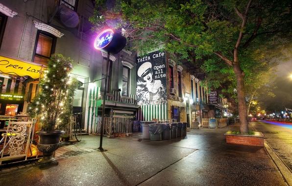 Picture night, lights, christmas, new York, night, new york, usa, nyc, East Village, Yaffa Cafe, St. …