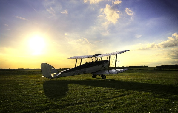 Picture field, the sky, grass, the sun, shadow, British, training, biplane, The Tiger Moth, Tiger Moth