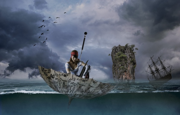 Picture sea, girl, rock, umbrella, sailboat, the situation, umbrella, pirate, frigate