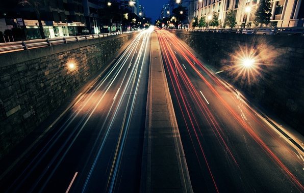 Picture road, machine, night, the city, lights, movement, speed, street