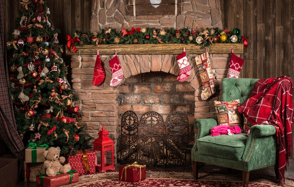 Picture toys, tree, chair, Christmas, gifts, New year, tree, fireplace, garland