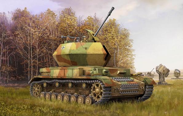wallpaper war art painting tank ww2 flak ostwind