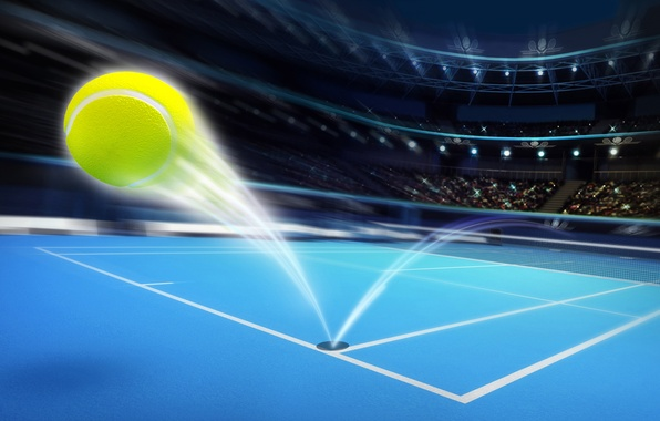 Picture field, abstraction, lights, the ball, speed, trajectory, train, devices, art, tribune, fans, stadium, places, tennis, …