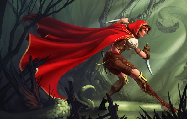 Picture forest, girl, red, weapons, snake, art, hood, cloak
