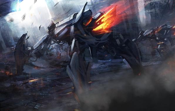 Picture weapons, fiction, fire, robots, art, destruction, the ruins