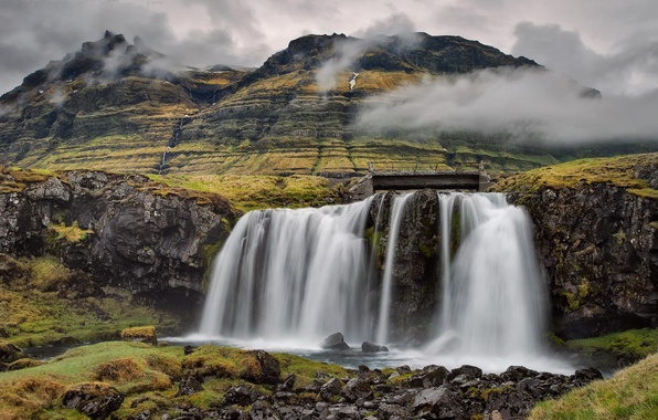 Picture the sky, clouds, stones, mountain, waterfall, Iceland, Kirkjufell
