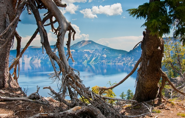 Picture the sky, trees, mountains, nature, lake, crater, Oregon
