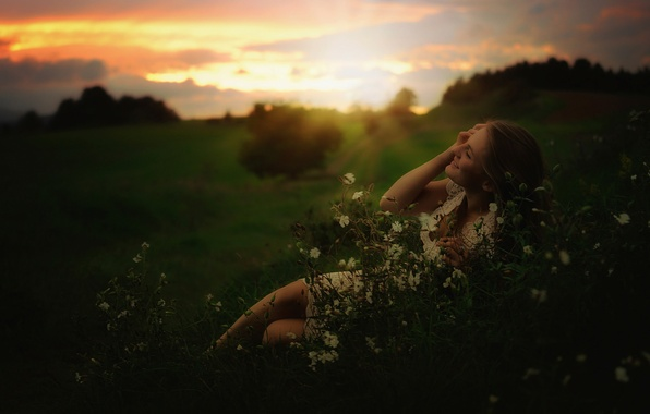 Picture field, girl, joy, sunset, meadow, weed