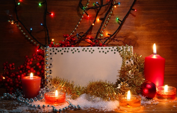 Picture berries, candles, twilight, garland, tinsel, card, Christmas decorations, artificial snow