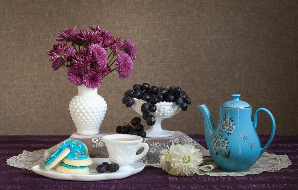 Picture flowers, coffee, cookies, grapes, still life, chrysanthemum