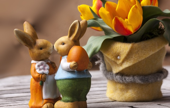 Picture flowers, holiday, Board, Easter, pair, tulips, rabbits, figures, Easter, pots