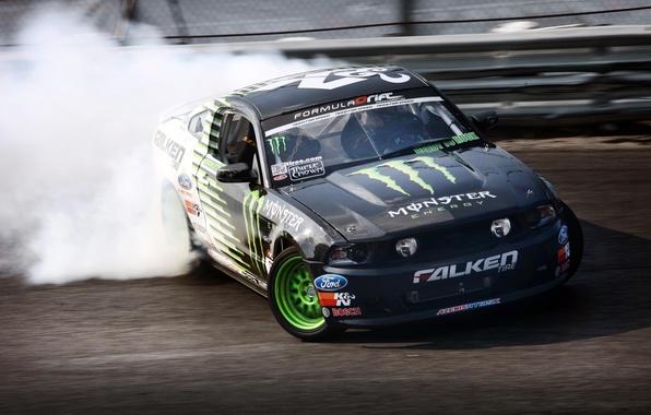 Picture Mustang, skid, Ford, drift, Drift, Ford Mustang, Monster Energy, formula drift, Hawks