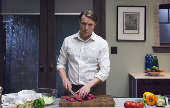 Picture kitchen, knife, Dr., actor, the series, vegetables, men, character, Hannibal Lecter, Mads Mikkelsen, Hannibal, Hannibal, ...