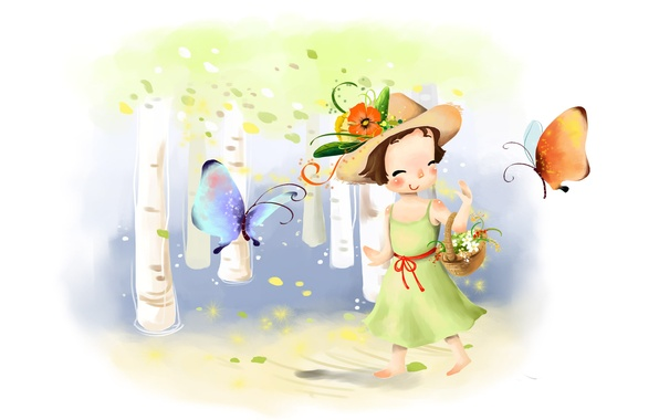 Picture flowers, smile, butterfly, figure, hat, dress, girl, basket, birch, lawn