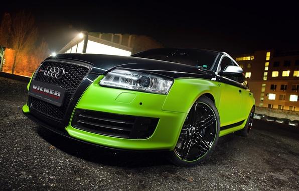 Picture Audi, Green, Glow, Black, Lights, Night, Tuning, Vilner, Rims, RS6