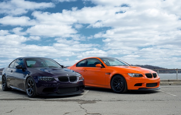 Picture the sky, clouds, orange, bmw, BMW, orange, e92, violet, fioletowy