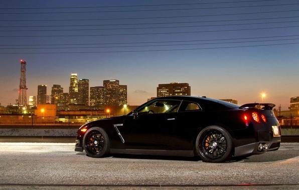 Picture the city, lights, supercar, black, R35, Nissan GTR