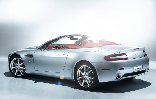 Picture white, lights, Aston Martin, Vantage, Roadster