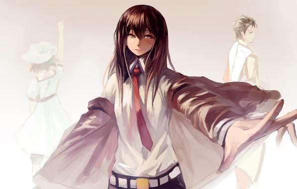 Picture look, girls, guy, painting, anime, art, makise kurisu, okabe rintarou, shiina mayuri, steins;gate, mou kankan