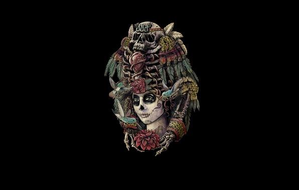Picture girl, birds, style, skull, skeleton, day of the dead