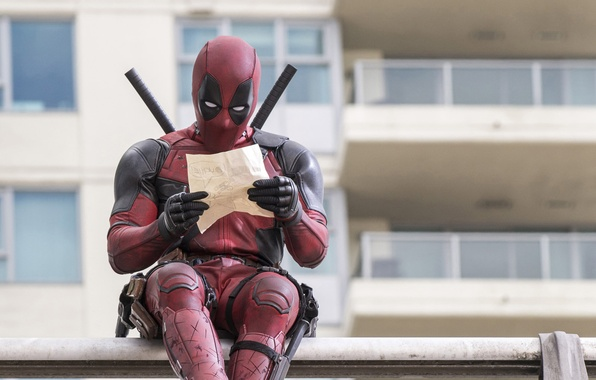 Picture City, Action, Ryan Reynolds, Red, Assassin, Black, with, and, Wallpaper, Deadpool, Year, MARVEL, reading, Weapons, …
