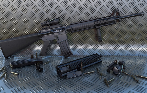 Picture weapons, rifle, automatic, M16A4