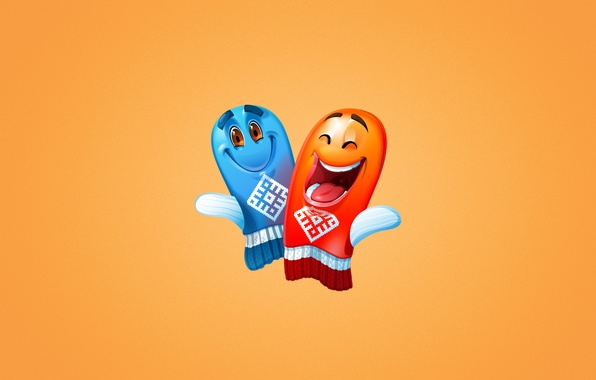 Picture joy, blue, red, Olympics, light background, smile, Sochi, merry mittens