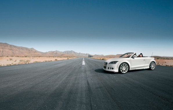 Picture road, white, Audi, convertible