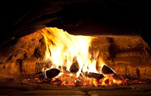 Picture fire, coal, hearth