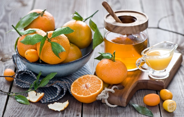 Picture winter, leaves, juice, honey, dishes, fruit, still life, orange, citrus, peel, tangerines, Anna Verdina, kumquat
