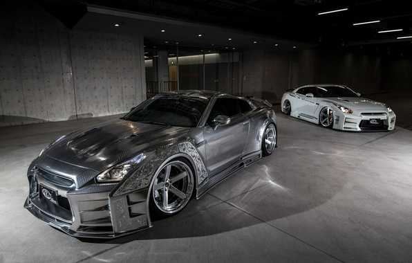 Picture GTR, Nissan, Racing, White, Silver, 2, &, Kuhl