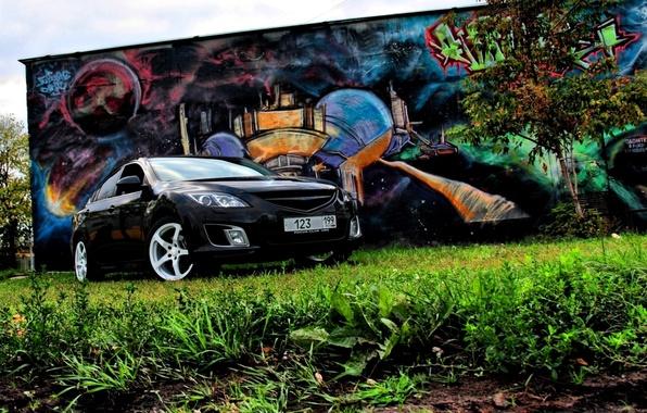 Picture Tree, Grass, Graffiti, Mazda 6