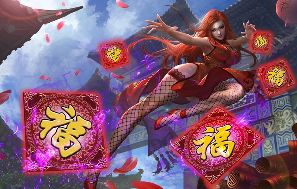 Picture card, dress, Heroes of Newerth, moba, Kinesis, Nian Guardian