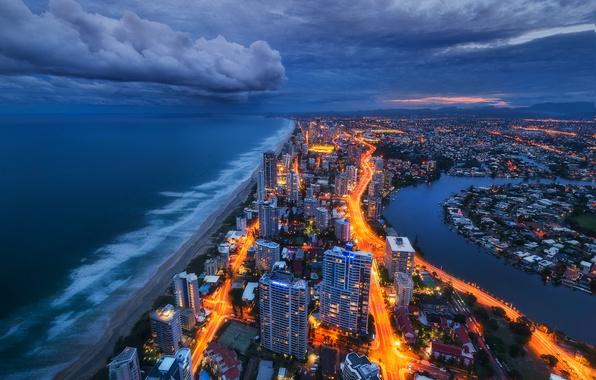 Photo wallpaper lights, shore, the evening, Australia, gold