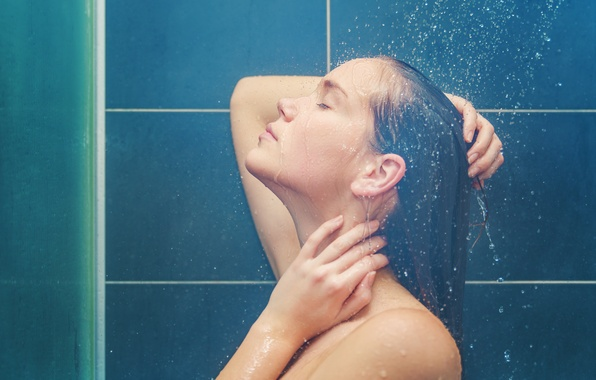 Picture water, girl, shower, profile