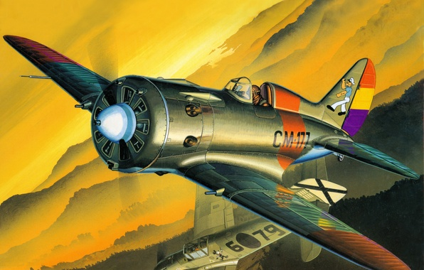 Picture aviation, fighter, art, the plane, -16, Soviet, armed with Spain