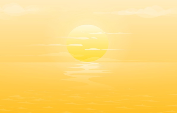 Picture ocean, yellow, sunset, clouds
