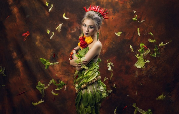 Picture look, leaves, girl, style, background, mushrooms, crown, makeup, pepper, Asian, vegetables, salad, paprika
