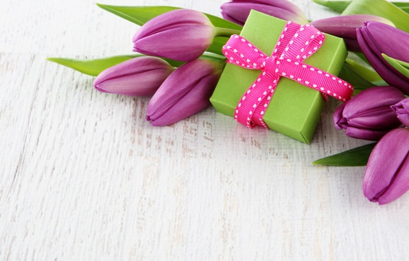 Picture flowers, box, gift, bouquet, tape, tulips, fresh, flowers, tulips
